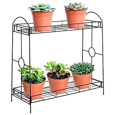 Best Choice Products 32-inch 2-Tier Indoor Outdoor Metal Multipurpose Plant Stand, Decorative Flower Pot Display Shelf Tray for Home, Backyard, Patio, Garden, Black : Garden & Outdoor