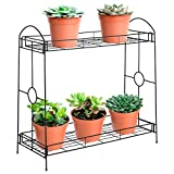 Best Choice Products 32in 2-Tier Indoor Outdoor Multi-Purpose Metal Flower Plant Pot Display Tray Shelf Stand - Black