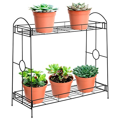 Best Choice Products 32in 2-Tier Indoor Outdoor Multi-Purpose Metal Flower Plant Pot Display Tray Shelf Stand - Black by Best Choice Products