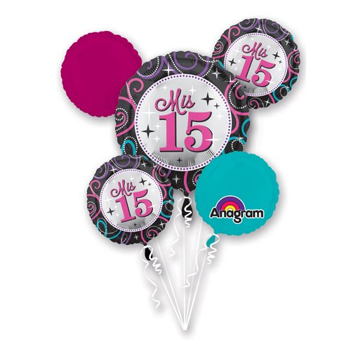 Anagram 30363 Mis Quince Sparkle Balloon Bouquet, Multicolored]()