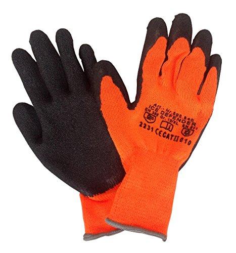 6x Paar Winterhandschuhe warnorange Thermo Arbeitshandschuhe mit Latexbeschichtung Größe 10 / XL
