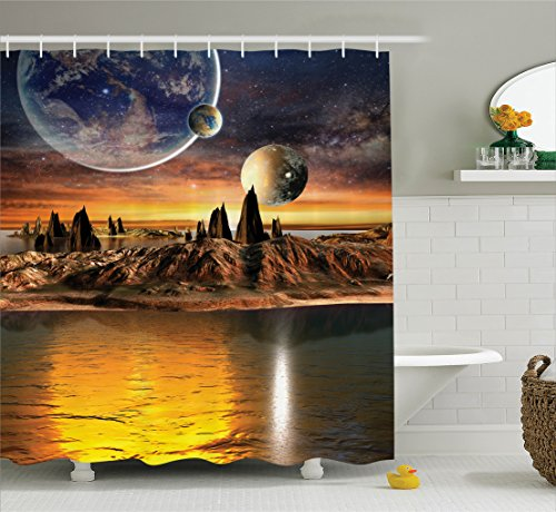 Ambesonne Galaxy Shower Curtain Fantasy Decor, Alien Planet with Earth Moon and Mountain Fantasy Sci fi Galactic Future Cosmos Art, Polyester Fabric Bathroom Shower Curtain Set with Hooks, Multi