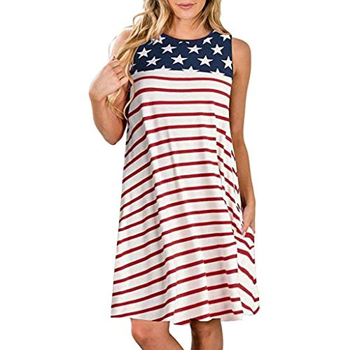 Caopixx Womens T-Shirt Dress Summer Casual Stripes Star American Flag Print Tank Dress Pockets Red