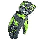 Panegy Unisex Ski gloves Winter Mittens Warm Windproof Waterproof Sports Outdoor Necessary Green Map-XL
