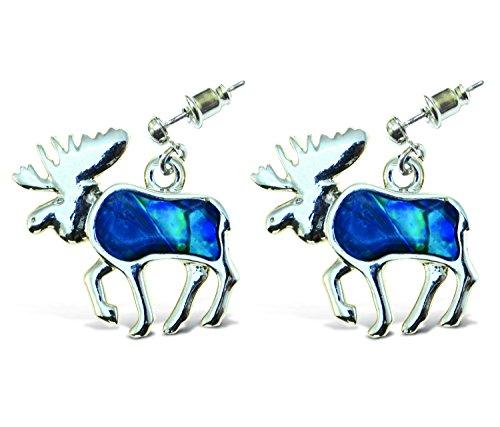 Puzzled Blue & Silver Aqua Bear Metal Bullet Earrings, Fashionable Dangle Post Elegant Jewelry with Genuine New Zealand Paua Shell Wildlife Mountain Animals Themed Fashion Ear Accessory (2 Pcs Set)