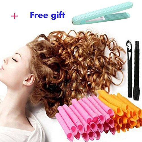 50CM DIY Lockenwickler,kompakt,+ 1 PCS Mini Haarglätter für Damen,mit Styling-Werkzeug,für Pferdeschwanz,bunt,40 Stück