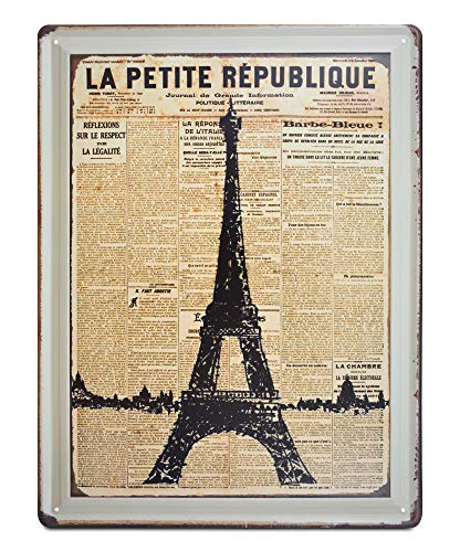 K&H Paris Eiffel Tower Retro Metal Tin Wall Sign Poster Home Diner Cafe Restaurant Wall Decor 12X16-Inch