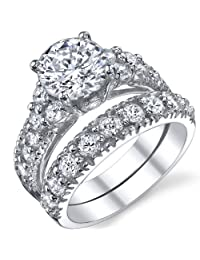 Metal Masters Co.® Solid Sterling Silver 925 Engagement Ring Set Bridal Rings with High Quality Cubic Zirconia