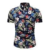 Men's Casual Shirts Hawaiian Short Sleeve T-Shirts Summer Aloha Floral Print Tropical Beach Quick Dry Top