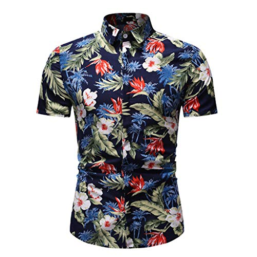 Men's Casual Shirts Hawaiian Short Sleeve T-Shirts Summer Aloha Floral Print Tropical Beach Quick Dry Top ()