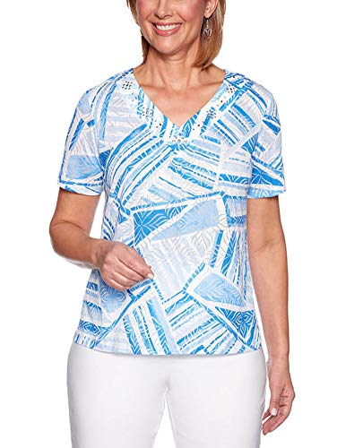 Alfred Dunner Womens Classics Abstract Patchwork Knit Top