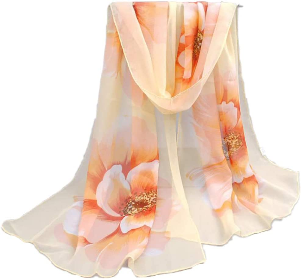 Yunzee Women Shawls and Wraps Soft Oversized Flowers Print Scarf Wraps Shawl Sheer Gift 62.9919.69inch
