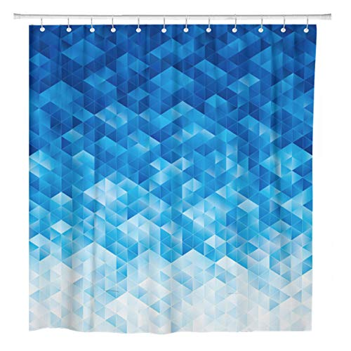 ArtSocket Shower Curtain Abstraction Abstract Geometric Blue Color Copy Cubes Digital Effect Home Bathroom Decor Polyester Fabric Waterproof 72 x 72 Inches Set with Hooks