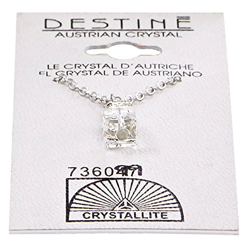 (Crystallite Destine Austrian Crystal Cube with Rhinestone Necklace)