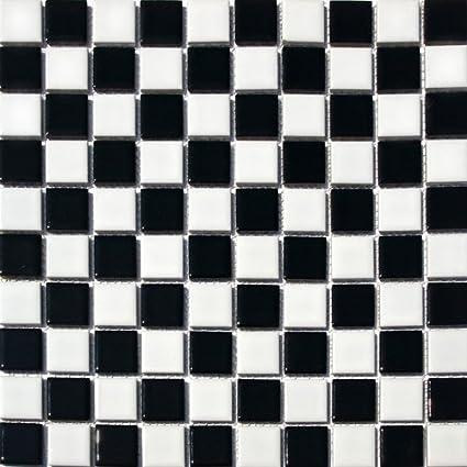 Square Checkered Tile Black White Porcelain Mosaic Shiny Look 1 1