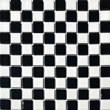 Square Checkered Tile Black & White Porcelain Mosaic Shiny Look 1-1 ...