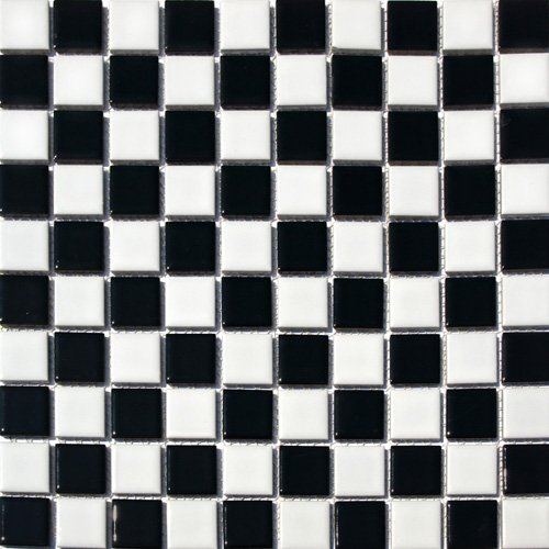 Square Checkered Tile Black & White Porcelain Mosaic Shiny Look 1-1/8