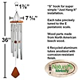 """Wind Chimes for Outdoor - Patio or Indoor - House, Large Tuned Metal Tubes Create Unique Melodies, 36"""" by Nature's Melody, Silver Color"""