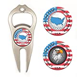 Hat Trick Openers 6-in-1 Golf Divot Tool & Poker Chip Marker Set with USA Logo, Nickel