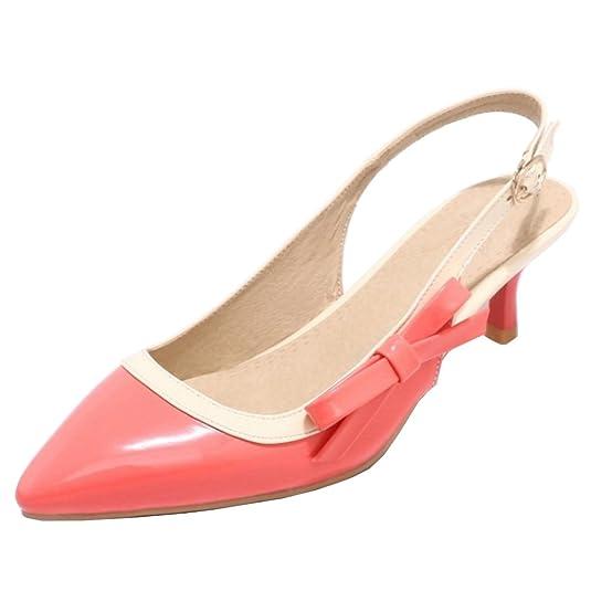 TAOFFEN Damen Elegant Cross Strap Sandalen Sommer Schuhe Blockabsatz Pink Size 35 Asian TpcQaap2D