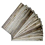 SkinnyTile 04405 Peel and Stick Wood Plank Shades Glass Wall Tile (48-Pack), 6'' x 3''