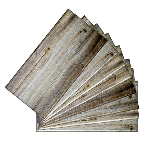 SkinnyTile 04405 Peel and Stick Wood Plank Shades Glass Wall Tile (48-Pack), 6'' x 3'' by SkinnyTile