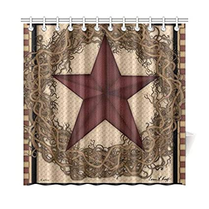 YIJIEVE Home Decor Bath Curtain Country Primitive Barn Star Wreath Live Laugh Love Polyester Fabric Waterproof