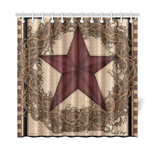 YIJIEVE Home Decor Bath Curtain Country Primitive Barn Star Wreath Live Laugh Love Polyester Fabric Waterproof Shower Curtain for Bathroom, 72 X 72 Inch Shower Curtains Hooks Included