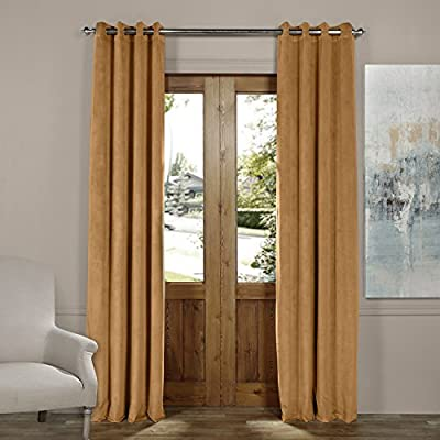 """VPCH-140805-84-GRBO Signature Grommet Blackout Velvet Curtain, 50 by 84"""", Amber Gold - Sold per panel 100Percent polyester velvet face fabric   100Percent polyester plush blackout lining Finished with 8 nickel finish grommets (1-1/2Opening) - living-room-soft-furnishings, living-room, draperies-curtains-shades - 51jdJqDeYEL. SS400  -"""