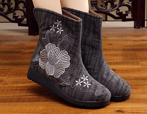 AvaCostume Womens Flower Embroidery Slip-ons Flats Boots Dark Grey Pqlc8Vqcg