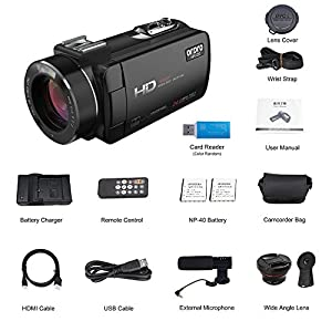 ORDRO Video Camcorder HD 1080P 30FPS Digital Camera with Wifi External Microphone Wide Angle Lens (HDV-Z20)