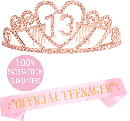 (13th Birthday Tiara and Sash Pink | Happy 13th Birthday Party Supplies | Official Teenager Satin Sash and Crystal Tiara Birthday Crown for 13th Birthday Party Supplies and Decorations (Heart))