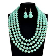 PSNECK Pearl Nigerian Wedding African Beads Jewelry Set multilayer statement choker necklace earrings set