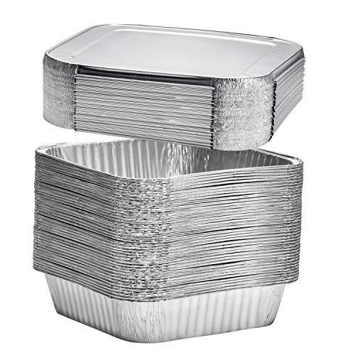 8 Square Disposable Aluminum Cake Pans - Foil Pans perfect for baking cakes, roasting, homemade breads | 8 x 8 x 2 in With Flat Lids (10 Count)
