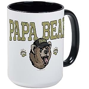 CafePress - New Papa Bear Dad Large Mug - Coffee Mug, Large 15 oz. White Coffee Cup