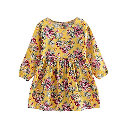 Vicbovo Clearance Sale Kids Toddler Girl Dress, Boho Floral Print Long Sleeve Holiday Princess Dresses Clothes (Yellow, 6-7T)]()