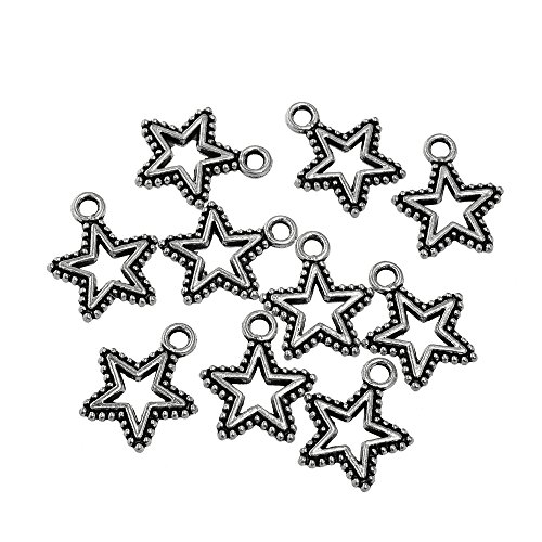 Star Keychain Patriotic - RUBYCA 30PCS Charm Pendant Star Tibetan Metal Beads Silver Color for Jewelry Making DIY Bracelet