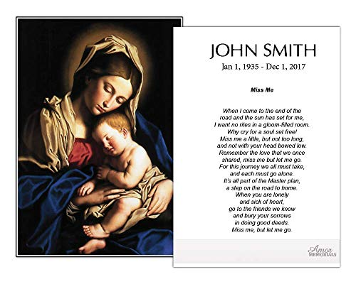 Funeral Memorial Prayer Cards (50 Cards) FPC1044EN Virgin holding Baby (Custom Printed - Select Desired Prayer) ()