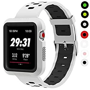 Apple Watch Band With Case, GEOTEL Breathable Silicone iWatch Band with Shock-Proof Protective Case for Apple Watch Series 3, Series 2, Series 1, Nike+, Sport, Edition(42mm-White/Black)