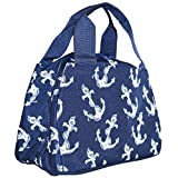 Ever Moda Navy Blue Anchors Insulated Lunch Bag 10-inch