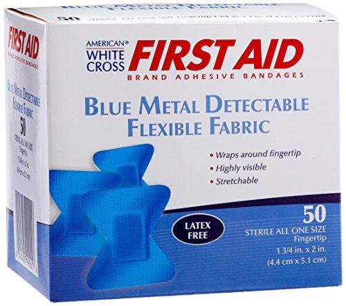 (American White Cross 99921 Blue Metal Detectable Adhesive Strips, Sterile, Lightweight Flex 1-3 per 4