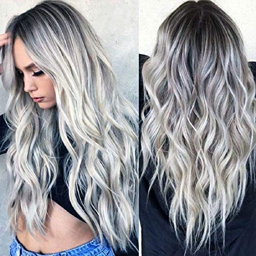 """Wigood 28"""" Ombre Wig Silver Gray Long Wavy Wigs Heat Resistant Synthetic Full Curly Wigs with Free Wig Cap for Women Party Cosplay Halloween Costume Accessories"""