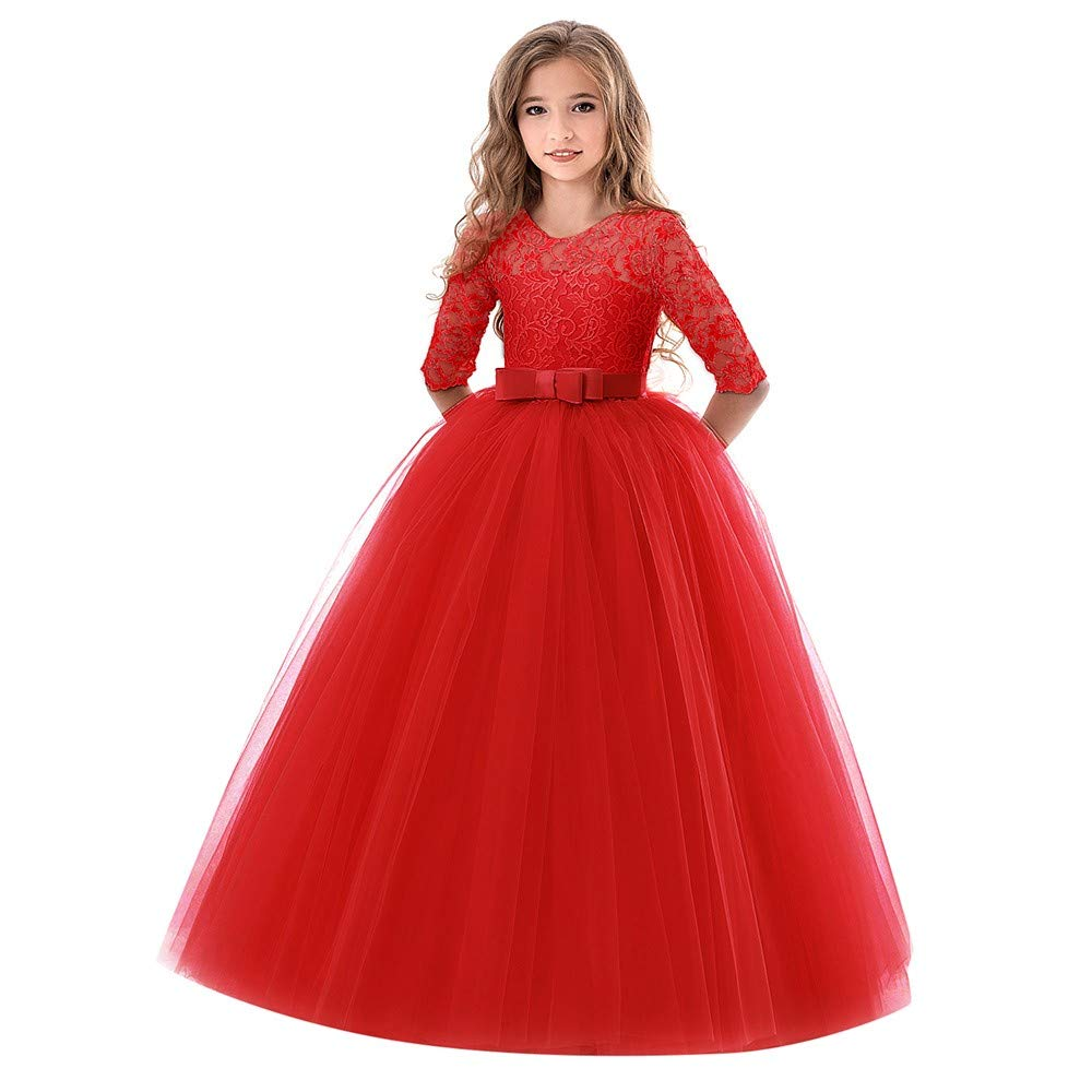 Little Big Girls Dresses Tutu Tulle Illusion Sleeves Bow Tie Back Princess Pageant Skirt Outfit Clothes 4-9 Years (8-9 Years, Red) by Yihaojia Girls Dress