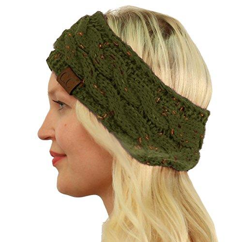 Fleece Green Scarf (CC BEANIE Winter Warm Fuzzy Fleece Lined Thick Knit Headband Headwrap Hat Cap Olive)