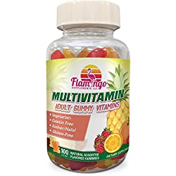 Flamingo Supplements Vegetarian Multi-vitamin Gummies | Kosher Halal Gluten-Free | For Men, Women & Kids| Multi Pack In 3 Natural Flavors | Vitamins A, C, B3, B12, Biotin, Zinc & More| 100 Gummies