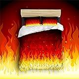 Beauty Decor Bedding 4 Piece bed Set Duvet Cover,Burning fire 4 Piece Bed Sheet Set 1 Flat Sheet 1 Fitted Sheet and 14 Pillow Cases