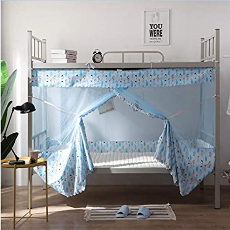 Tofover Dormitory Mosquito Net Bunk Bed Encryption Nets Bed Canopy Square Student Dorm Netting Blackout Curtains