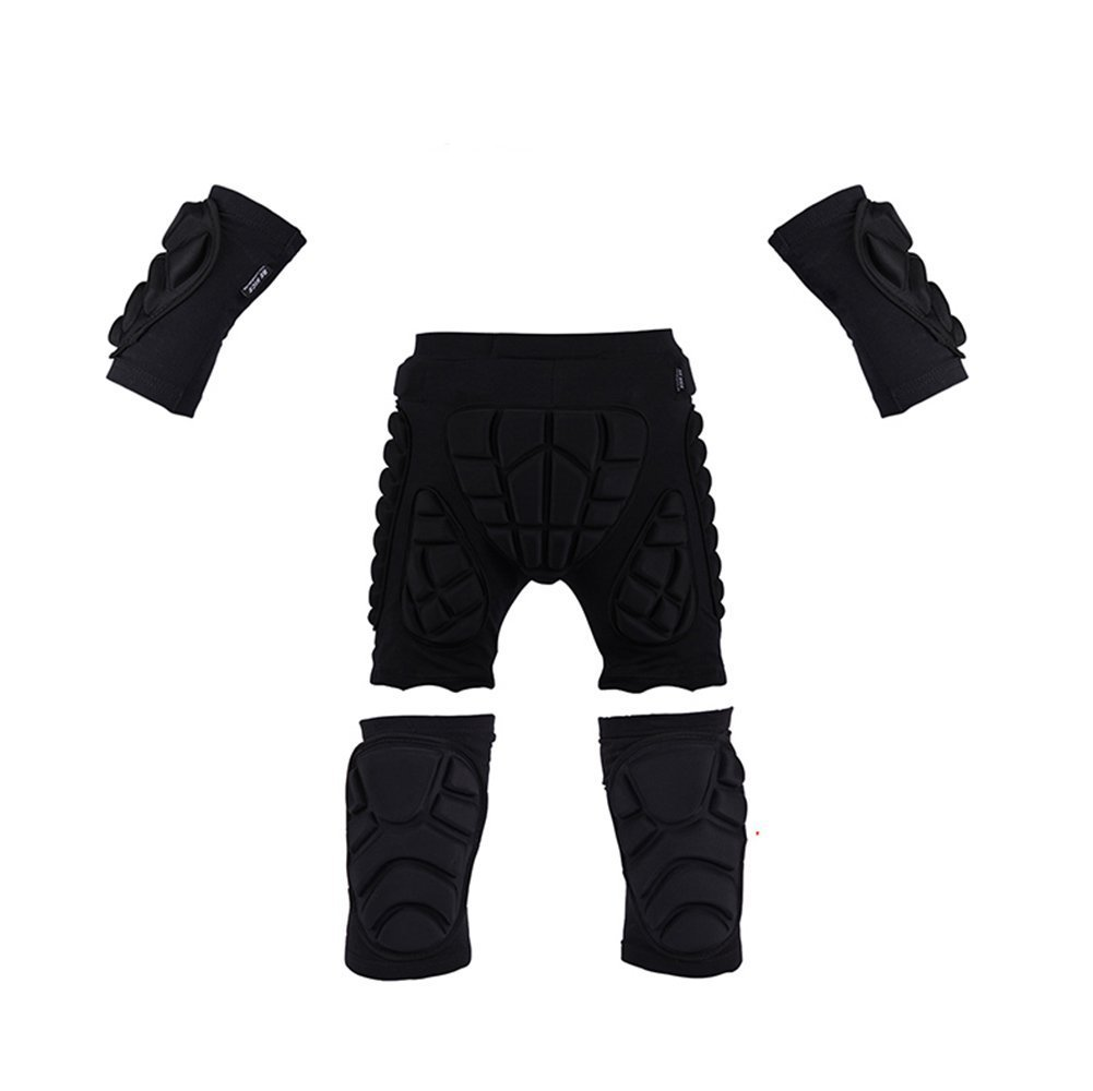 Sports Protective Gear Set,3D Padded Shorts + Elbow Pads + Knee Pads for Audlt, LightWeight Guard Sleeve and Pants for Skiing, Skating, Skateboarding & Cycling and Extreme Sports