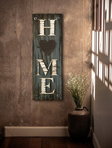 HOME SIGN with Heart Vertical *Rustic Distressed Wood Board *Home is where the HEART is *Antique Red, White, or River Rock Blue Gray *LARGE *Inside Interior *Outside Exterior *Entryway *By Front Door