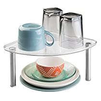 mDesign Free Standing Corner Storage Shelf for Kitchen Cabinets or Countertop - Clear